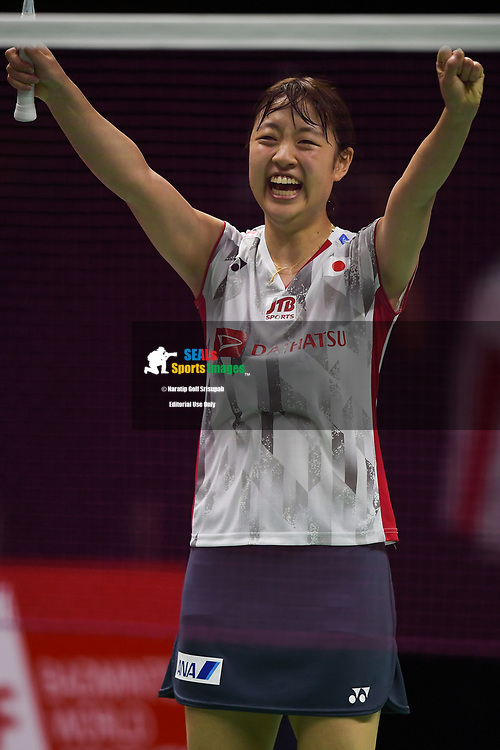 BANGKOK, THAILAND - MAY 26: Nozomi Okuhara of Japan reaction on Court 1 after winner her Uber Cup Finals match against Nitchaon Jindapol of Thailand at the BWF Total Thomas and Uber Cup Finals 2018, Impact Arena , Bangkok, Thailand on May 26, 2018.<br /> .<br /> .<br /> .<br /> Photo by: Naratip Golf Srisupab/SEALs Sports Images<br /> <br /> .<br /> All photo must include a credit line adjacent to the content: Naratip Golf Srisupab/SEALs Sports Images