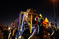 """The Purupecha """"Viejitos"""" make their way into the sacred circle on Friday night during a Day of the Dead celebration led by Aztec dance group Yaocuauhtli in east Salinas."""