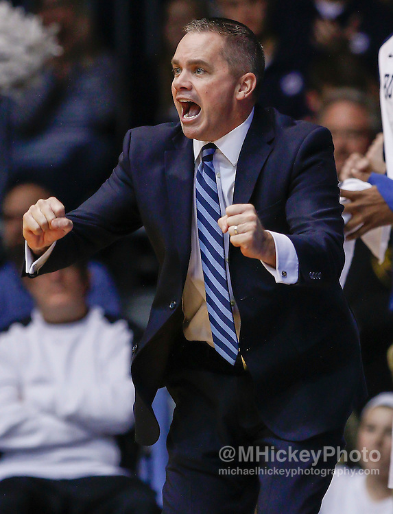 INDIANAPOLIS, IN - DECEMBER 28: Interim Head coach Chris Holtmann of the Butler Bulldogs is seen during the game against the Belmont Bruins at Hinkle Fieldhouse on December 28, 2014 in Indianapolis, Indiana. Butler defeated Belmont 67-56. (Photo by Michael Hickey/Getty Images) *** Local Caption *** Chris Holtmann
