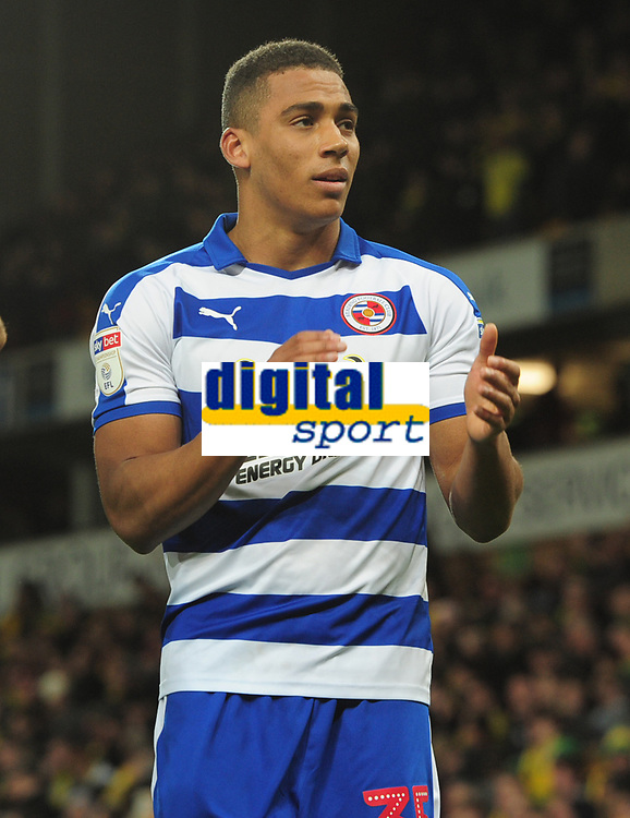 Football - 2018 / 2019 Sky Bet EFL Championship - Norwich City vs. Reading<br /> <br /> Andy Rinomhota of Reading his dramatic last equaliser with his fans, at Carrow Road.<br /> <br /> COLORSPORT/ANDREW COWIE