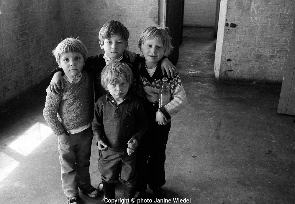 Four young children on Gypsy / Traveller campsite in East London UK 1973