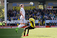 Leeds United defender Luke Ayling (2) wins the ball during the EFL Sky Bet Championship match between Burton Albion and Leeds United at the Pirelli Stadium, Burton upon Trent, England on 22 April 2017. Photo by Richard Holmes.