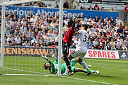 Eric Bailly of Manchester Utd (3) scores his teams 1st goal from short range. Premier league match, Swansea city v Manchester Utd at the Liberty Stadium in Swansea, South Wales on Saturday 19th August 2017.<br /> pic by  Andrew Orchard, Andrew Orchard sports photography.