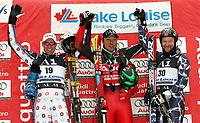 Alpint 26. november 2005 , <br /> Sieger Fritz Strobl (Österreich, Mitte), Marco Büchel (Liechtenstein, li.) und Kjetil Andre Aamodt (Norwegen) - Siegerehrung; Marko, Buechel, Vdig, quer, Aufmacher, Podium, Podest, Sieg Weltcup 2005/2006, Welt Cup, Worldcup, World, WC, Abfahrt, Ski Alpin, Skisport Lake Louise Alpiner <br /> Norway only
