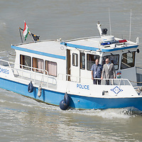 Sandor Pinter (R) Hungary's Minister of Interior observes rescue operations from a police boat as rescue personnel recovers bodies from the passenger boat Hableany (means Mermaid in Hungarian) lifted up from the river after it's capsize in an accident on river Danube in downtown Budapest, Hungary on June 11, 2019. ATTILA VOLGYI