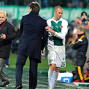 Bursaspor's coach Ertugrul SAGLAM (L) and Kenny MILLER (R) during their Turkish soccer super league match Bursaspor between Galatasaray at Ataturk Stadium in Bursa Turkey on Saturday, 29 January 2011. Photo by TURKPIX