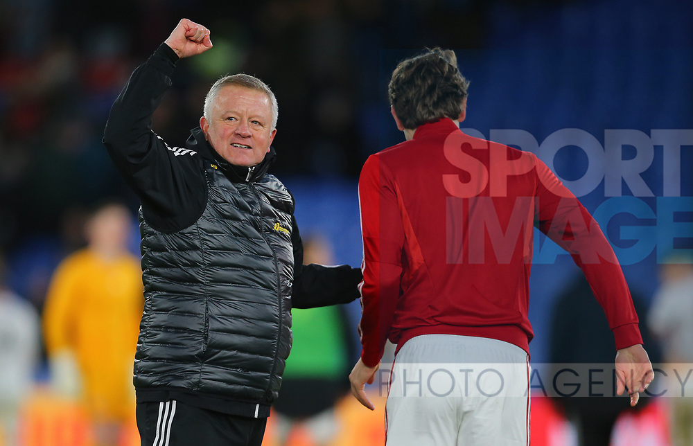 Sheffield United's manager Chris Wilder celebrates with Sander Berge after the Premier League match at Selhurst Park, London. Picture date: 1st February 2020. Picture credit should read: Paul Terry/Sportimage