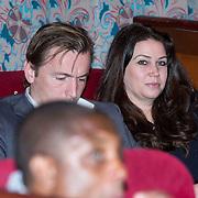 NLD/Amsterdam/20140313 - Modeshow Danie Bles 2014, Richard Witschge en partner Lia Huis in 't Veld