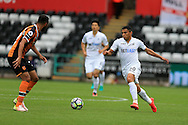 Jefferson Montero of Swansea city (r) in action.Premier league match, Swansea city v Hull city at the Liberty Stadium in Swansea, South Wales on Saturday 20th August 2016.<br /> pic by Andrew Orchard, Andrew Orchard sports photography.
