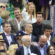 Anna Wintour and David Beckham  watching Novak Djokovic, Serbia, winning the Men's Singles Final against Roger Federer, Switzerland, during the US Open Tennis Tournament, Flushing, New York, USA. 13th September 2015. Photo Tim Clayton