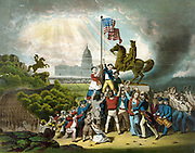 American Civil War 1861-1865: Raising the flag May 1861.  US flag raised in Washington by Union patriots near the  statue of Andrew Jackson. Union soldiers on the march led by two drummer boys. Coloured lithograph 1864.