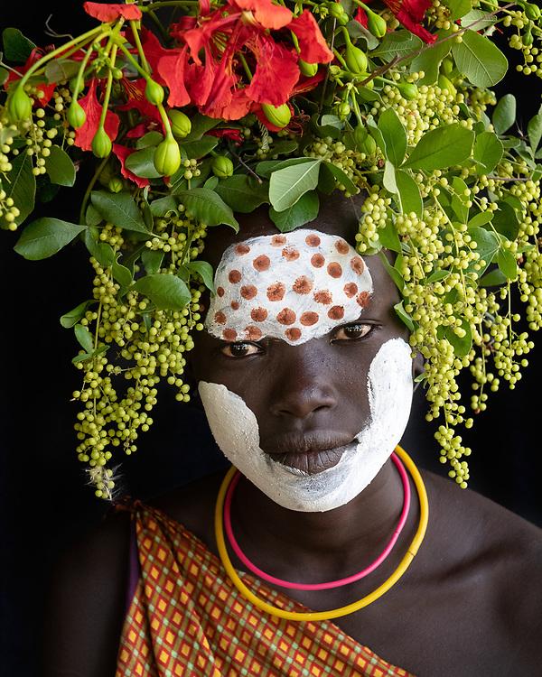Sixteen Portraits of the Suri Tribe near Kibish Ethiopia.