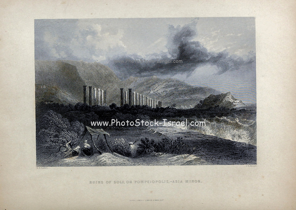 Ruins of Soli, or Pompeiopolis, Asia Minor [Turkey] from Volume 2 of Syria, the Holy Land, Asia Minor, &c. by Carne, John, 1789-1844; Illustrated by Bartlett, W. H. (William Henry), 1809-1854, and Allom, Thomas, 1804-1872 Published in London in 1837