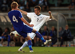 Rene Mihelic vs Jonas Portin during the Qualifications for UEFA U-21 EC 2009 soccer match between Slovenia and Finland at Velenje stadion At lake, on September 9,2008, in Velenje, Slovenia.  (Photo by Vid Ponikvar / Sportal Images)