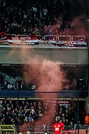 United fans throw a flare during the Europa League Quarter Final 1st leg match at RSCA Constant Vanden Stock Stadium, Anderlecht, Belgium. Picture date: April 13th, 2017.Pic credit should read: Charlie Forgham-Bailey/Sportimage