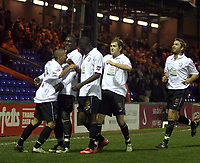 Photo: Mark Stephenson/Sportsbeat Images.<br /> Stockport County v Hereford United. Coca Cola League 2. 17/11/2007.Hereford's Lional Ainswoth (L)  celebrates his 3ed goal with team mates