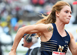 April 27, 2018 - Philadelphia, Pennsylvania, U.S - A runner from Navy in action during the CW 4x100 qualifying heats at the 124th running of the Penn Relays at Franklin Field in Philadelphia PA (Credit Image: © Ricky Fitchett via ZUMA Wire)