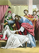Christ raising the daughter of Jairus, Governor of the Synagogue, from the dead. 'Bible' Mark V. Chromolithograph by Kronheim c1860.