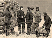 British overland Arctic expedition led by Sir John Franklin (1786-1847) 1819-1822. George Back (1796-1878) taking leave of Franklin and setting out from 'Fort Enterprise' to bring fresh supplies. He rejoined the expedition after making a l,104 mile (1,776.70 km) round journey  Engraving from 'Heroes of Britain' by Edwin Hodder (London, c1880).
