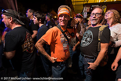 Photographer Chopper Dave at the Full Moon Saloon Main Street was rocking  at the end of the first day of Daytona Beach Bike Week. FL. USA. Saturday March 11, 2017. Photography ©2017 Michael Lichter.