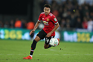 Jesse Lingard of Manchester United in action.   EFL Carabao Cup 4th round match, Swansea city v Manchester Utd at the Liberty Stadium in Swansea, South Wales on Tuesday 24th October 2017.<br /> pic by  Andrew Orchard, Andrew Orchard sports photography.