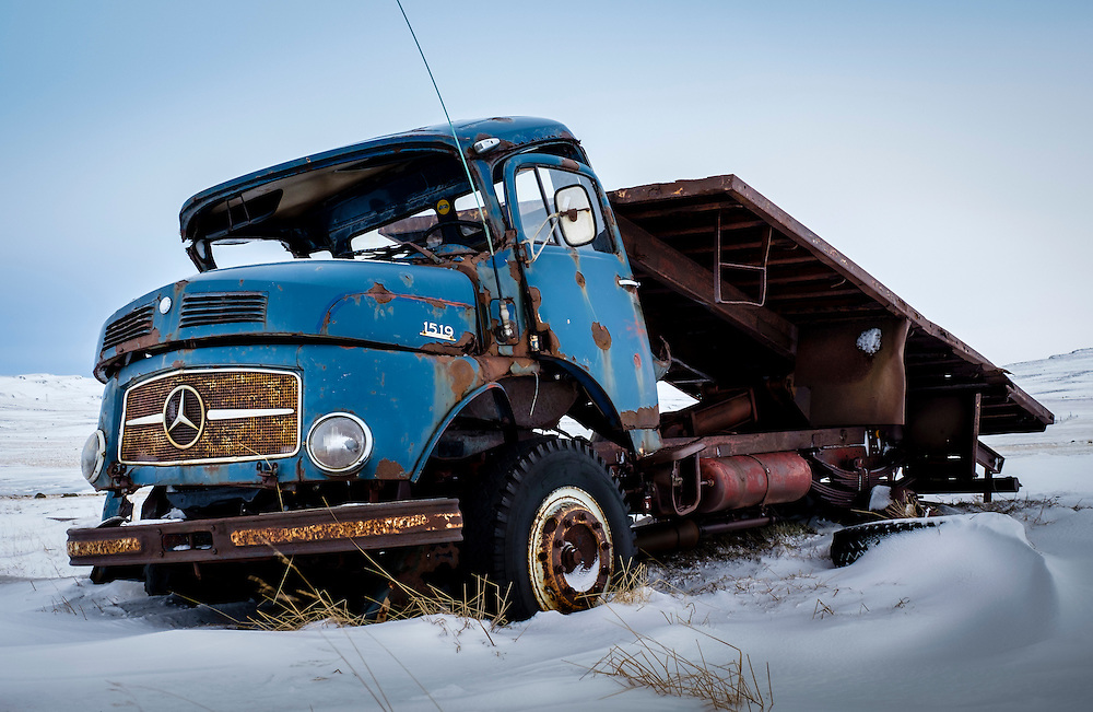 ICELAND - CIRCA MARCH 2015: Abandoned truck in a farrm in South Iceland during winter time.