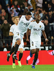 November 3, 2018 - Valencia, Valencia, Spain - Geoffrey Kondobia of Valencia CF celebrates a goal before revision of VAR during the La Liga match between Valencia CF and Girona FC at Mestala Stadium on November 3, 2018 in Valencia, Spain (Credit Image: © AFP7 via ZUMA Wire)