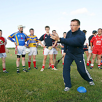 25 June 2008; Jamesie O'Connor, Clare, with Louth senior players during a Halifax GPA Photocall. Less than a month after its launch the Halifax sponsored Gaelic Players Association Hurling Twinning Programme, aimed at promoting hurling in the non-traditional counties, has begun in earnest. The Hurling Twinning Programme sees counties from the Nicky Rackard Cup paired with their counterparts at Liam McCarthy Cup level. Darver, Co. Louth. Picture credit: Oliver McVeigh / SPORTSFILE *** NO REPRODUCTION FEE ***