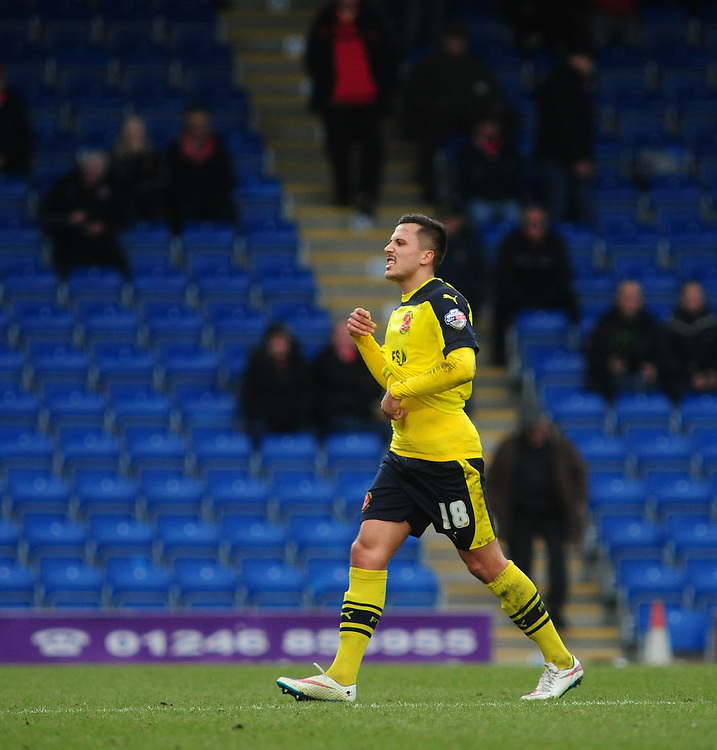 Fleetwood Town's Antoni Sarcevic walks off the pitch after he was shown a red card by Referee Patrick Miller<br /> <br /> Photographer Chris Vaughan/CameraSport<br /> <br /> Football - The Football League Sky Bet League One - Chesterfield v Fleetwood Town - Saturday 28th February 2015 - Proact Stadium - Chesterfield<br /> <br /> © CameraSport - 43 Linden Ave. Countesthorpe. Leicester. England. LE8 5PG - Tel: +44 (0) 116 277 4147 - admin@camerasport.com - www.camerasport.com