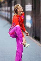 Samsung Diamond League adidas Grand Prix track & field; Womens Triple Jump, Olga Rypakova, KAZ confers with coach