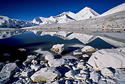 Chomolungma, Mt Everest, reflected in small tarn at snout of Kharta glacier, Tibet