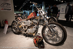 Alessio Mattiazzi's Harley-Davidson 1,000cc Ironhead XLCH custom that he fabricated in his home garage and painted at 70's helmets in Vicenza where he works is an entry in the AMD World Championship of Custom Bikes at the Intermot International Motorcycle Fair. Cologne, Germany. Wednesday October 3, 2018. Photography ©2018 Michael Lichter.