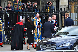 April 25, 2018 - London, England, United Kingdom - Meghan Markle departs after attending an Anzac Day Service of Commemoration and Thanksgiving at Westminster Abbey on April 25, 2018 in London, England. Anzac Day commemorates Australian and New Zealand casualties and veterans of conflicts and marks the anniversary of the landings in the Dardanelles on April 25, 1915 that would signal the start of the Gallipoli Campaign during the First World War. (Credit Image: © Alberto Pezzali/NurPhoto via ZUMA Press)