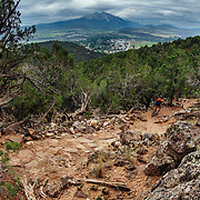 Heather Goodrich rides the technical terrain of Red Hill in Carbondale Colorado.