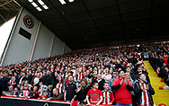 Sheffield Utd fans in celebration mood during the English League One match at  Bramall Lane Stadium, Sheffield. Picture date: April 30th 2017. Pic credit should read: Simon Bellis/Sportimage