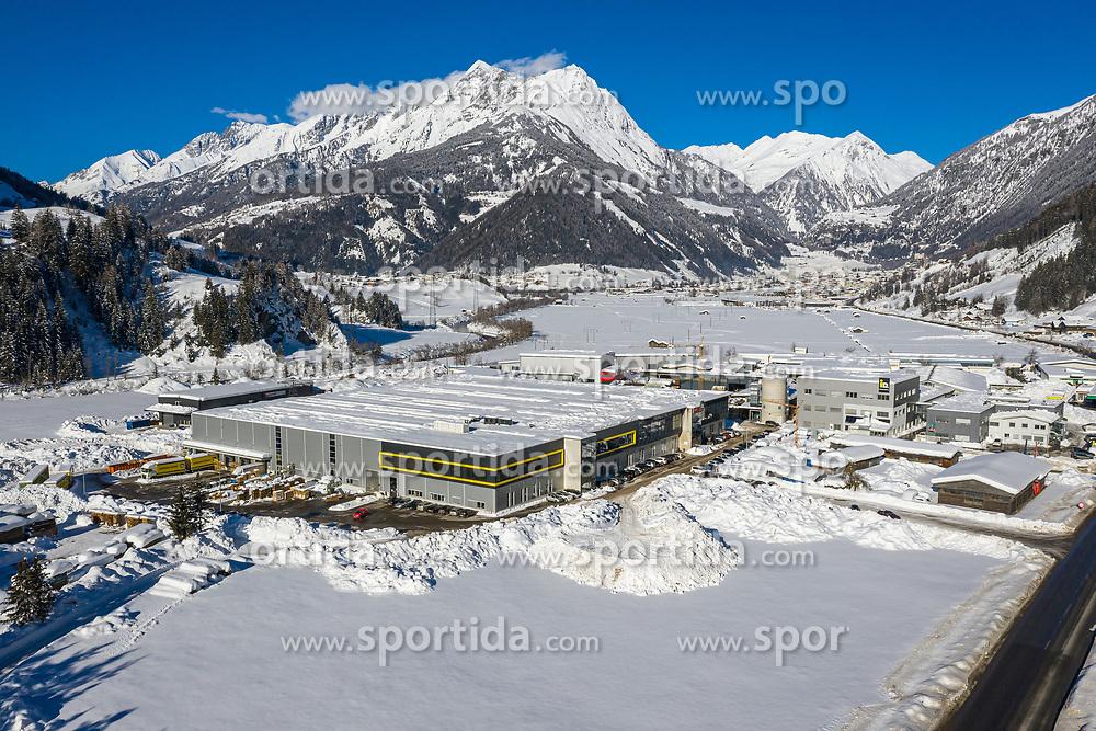 THEMENBILD - Produktionshalle des auf Wärmepumpen spezialisierten Unternehmen IDM in Matrei in Osttirol, Österreich am Dienstag, 5. Januar 2021. Luftbild, aufgenommen mit einer Drohne, nach den starken Schneefällen welche vom 5. bis 8. Dezember 2020 sowie vom 1. bis 3 Jänner 2021 über Osttirol und Oberkärnten nieder gingen, sorgten für grosse Neuschneemengen in der Region // Production hall of IDM, a company specializing in heat pumps, in Matrei in East Tyrol, Austria on Tuesday, January 5, 2021. Aerial photo, taken with a drone, after the heavy snowfalls which fell over East Tyrol and Upper Carinthia from December 5 to 8, 2020, and from January 1 to 3, 2021, caused large amounts of new snow in the region. EXPA Pictures © 2021, PhotoCredit: EXPA/ Johann Groder