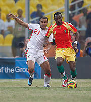 Photo: Steve Bond/Richard Lane Photography.<br /> Guinea v Morocco. Africa Cup of Nations. 24/01/2008. Souleymane Youla (R) gets in front of Badr El Kaddouri (L)