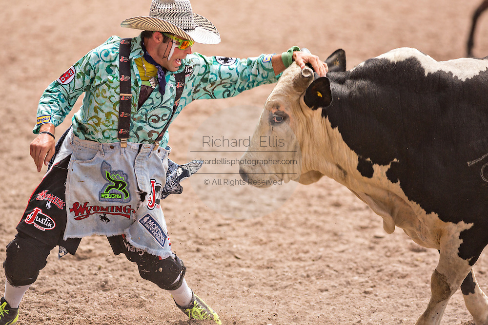 Bullfighter Dusty Tuckness confronts an angry bull after tossing rider Zeb Lanham at the Cheyenne Frontier Days rodeo at Frontier Park Arena July 25, 2015 in Cheyenne, Wyoming. Frontier Days celebrates the cowboy traditions of the west with a rodeo, parade and fair.