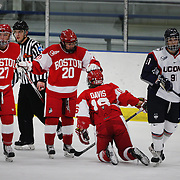 Boston University players celebrate a goal during the UConn Vs Boston University, Women's Ice Hockey game at Mark Edward Freitas Ice Forum, Storrs, Connecticut, USA. 5th December 2015. Photo Tim Clayton