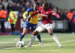 West Ham United's Issa Diop and Southampton's Yan Valery battle for the ball