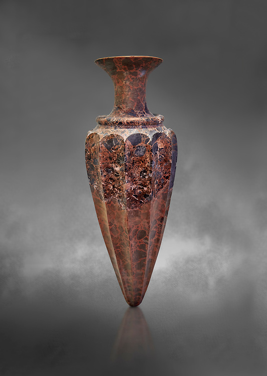 Minoan conical fluted stone rhython from the  Knossos  Palace 1600-1450 BC, Heraklion Archaeological  Museum, grey background. .<br /> <br /> If you prefer to buy from our ALAMY PHOTO LIBRARY  Collection visit : https://www.alamy.com/portfolio/paul-williams-funkystock/minoan-art-artefacts.html . Type -   Heraklion   - into the LOWER SEARCH WITHIN GALLERY box. Refine search by adding background colour, place, museum etc<br /> <br /> Visit our MINOAN ART PHOTO COLLECTIONS for more photos to download  as wall art prints https://funkystock.photoshelter.com/gallery-collection/Ancient-Minoans-Art-Artefacts-Antiquities-Historic-Places-Pictures-Images-of/C0000ricT2SU_M9w