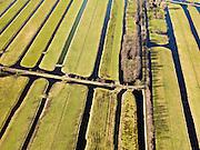 Nederland, Zuid-Holland, Gemeente Gouda, 20-02-2012; Polder Middelblok in de Krimpenerwaard, naar links de Lange Tiendweg. De langwerpige verkaveling is ontstaan door het ontginnen van het veen vanuit de dorpen langs de rivier de Hollandsche IJssel, zogenaamde ontginningen met vrije opstreek. De sloten en de Vliet zorgen voor ontwatering. .Polder Middelblok in the Krimpenerwaard. The land division (in lots) has been created by the reclamation of peat bog starting from the villages along the river Hollandsche IJssel. The ditches and brook provide drainage..luchtfoto (toeslag), aerial photo (additional fee required);.copyright foto/photo Siebe Swart.