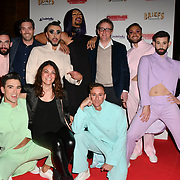 Charlie Wood (Glasses) Ed Bartlam (suit) Linda Catalano (Lady) and The cast attends Briefs: Close Encounters - press night an All-male 'Boylesque' group show off their circus skills, drag acts and raucous comedy routines at The Spiegeltent Leicester Square on 14 November 2018, London, UK.