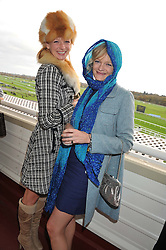 Left to right, sisters OLIVIA INGE and ALEXA INGE at the Hennessy Gold Cup at Newbury Racecourse, Berkshire on 26th November 2011.