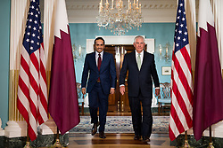 June 27, 2017 - Washington, District of Columbia, U.S. - U.S. Secretary of State REX TILLERSON walks with Qatari Foreign Minister SHEIKH MOHAMMED BIN ABDULRAHMAN AL THANI in the Treaty Room Suite at the U.S. Department of State. (Credit Image: © Ting Shen/Xinhua/Xinhua via ZUMA Wire)
