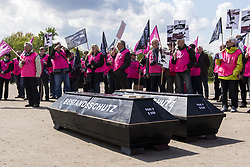 April 27, 2017 - Berlin, Berlin, Germany - About 150 people rally in the Berlin government district against the development of the employment retirement legislation. The Protesters call for a stop of the conversion of a self-funded, private direct insurance to a company pension. Two coffins with the inscription 'stock protection' and 'trust protection' are placed in front of the German Bundestag. German: Etwa 150 Menschen demonstrieren im Berliner Regierungsviertel gegen die Entwicklung des Betriebsrentenstärkungsgesetzes. Die Organisatoren fordern ein Stopp der Umwandlung einer selbstfinanzierten, privaten Direktversicherung zu einer betrieblichen Altersvorsorge. Zwei Särge mit der Aufschrift 'Bestandsschutz' und 'Vertrauensschutz' werden vor dem Reichstagsgebäude aufgestellt. (Credit Image: © Jan Scheunert via ZUMA Wire)