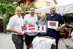 23.06.2017, Weingut & Heuriger Edelmoser, Wien, AUT, ÖHB, Fest zur Verabschiedung des scheidenden Generalsekretär Martin Hausleitner (ÖHB), im Bild Generalsekretär Martin Hausleitner (ÖHB), Viktor Szilagyi (AUT), Präsident Gerhard Hofbauer (ÖHB), Herren Trainer Patrekur Johannesson (AUT) mit der Gruppe B der Handball EM 2018 in Kroatien // during a farewell celebration for the general secretary of the Austrian Handball Association Martin Hausleitner at the Weingut & Heuriger Edelmoser, Vienna, Austria on 2017/06/23 . EXPA Pictures © 2017, PhotoCredit: EXPA/ Sebastian Pucher