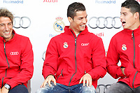 Coentrao, Cristiano Ronaldo and James participates and receives new Audi during the presentation of Real Madrid's new cars made by Audi in Madrid. December 01, 2014. (ALTERPHOTOS/Caro Marin)