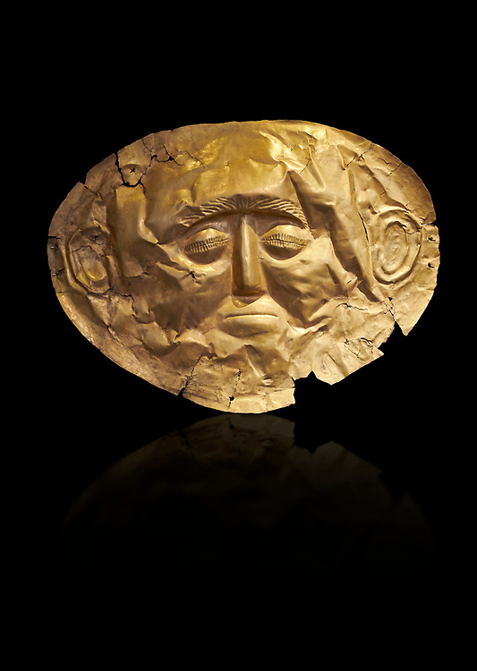 Mycenaean gold death mask, Grave Cicle A, Mycenae, Greece. National Archaeological Museum of Athens. Black Background<br /> <br /> This death mask is typical of the other Mycenaean gold death masks fround in Grave V. made from a sigle sheet of gold the shape of the face would have been hammered ot against wood. two holes either side of the gold mask allowed it to be held over the dead mans face. As weapons were found in the graves of Grave Circle A at Mycenae, those buried here wer warriors and maybe kings as the grave goods buried with them were of great value. 16th century BC .<br /> <br /> If you prefer to buy from our ALAMY PHOTO LIBRARY  Collection visit : https://www.alamy.com/portfolio/paul-williams-funkystock/mycenaean-art-artefacts.html . Type -   Athens    - into the LOWER SEARCH WITHIN GALLERY box. Refine search by adding background colour, place, museum etc<br /> <br /> Visit our MYCENAEN ART PHOTO COLLECTIONS for more photos to download  as wall art prints https://funkystock.photoshelter.com/gallery-collection/Pictures-Images-of-Ancient-Mycenaean-Art-Artefacts-Archaeology-Sites/C0000xRC5WLQcbhQ
