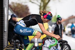 Tayler Wiles (Orica-AIS) warms up for her early start time at Omloop van Borsele Time Trial 2016. A 19.9 km individual time trial starting and finishing in 's-Heerenhoek, Netherlands on 22nd April 2016.